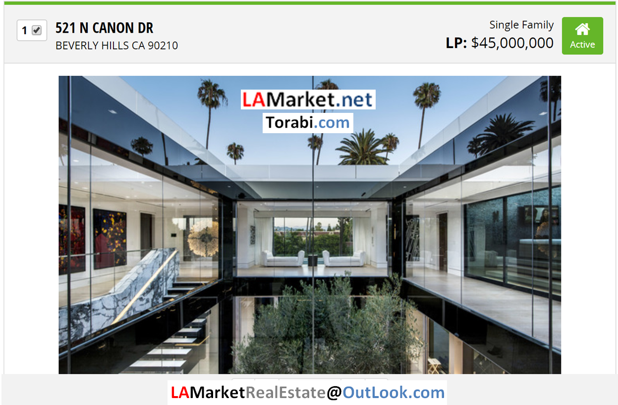 521 N CANON DR BEVERLY HILLS CA 90210 Selected by Ehsan Torabi Los Angeles Real Estate Broker and The Real Estate Analyst for Los Angeles Homes